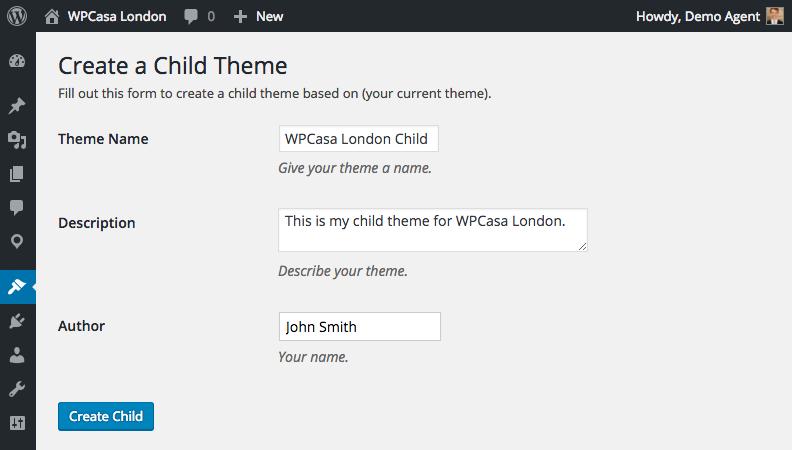 Add child theme details