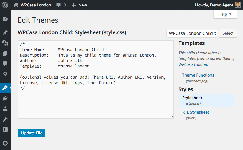 Creating child themes wpcasa documentation child theme editor pronofoot35fo Image collections