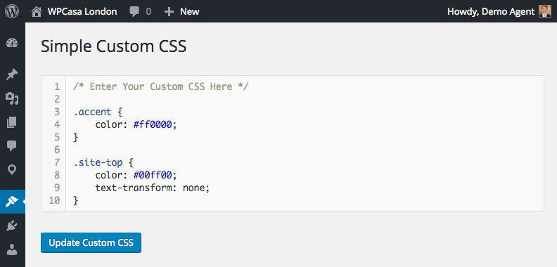 Simple Custom CSS editor