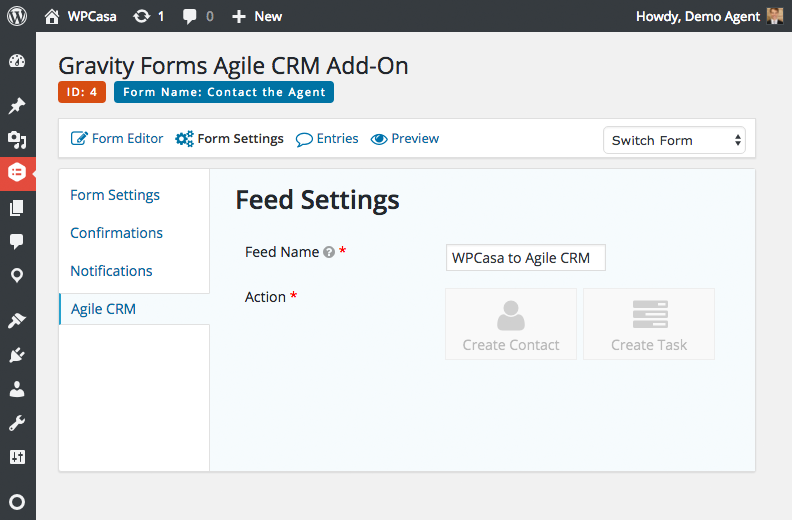 Gravity Forms Agile CRM feed settings