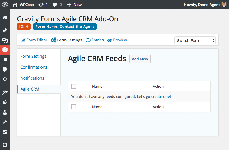 Gravity Forms Agile CRM feeds