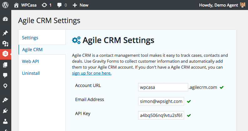 Gravity Forms Agile CRM settings