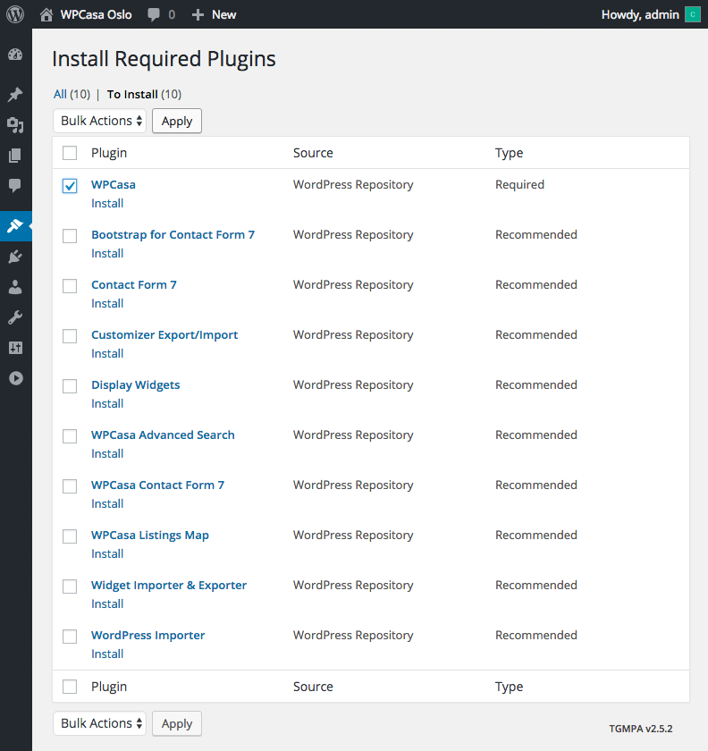 Install required plugins