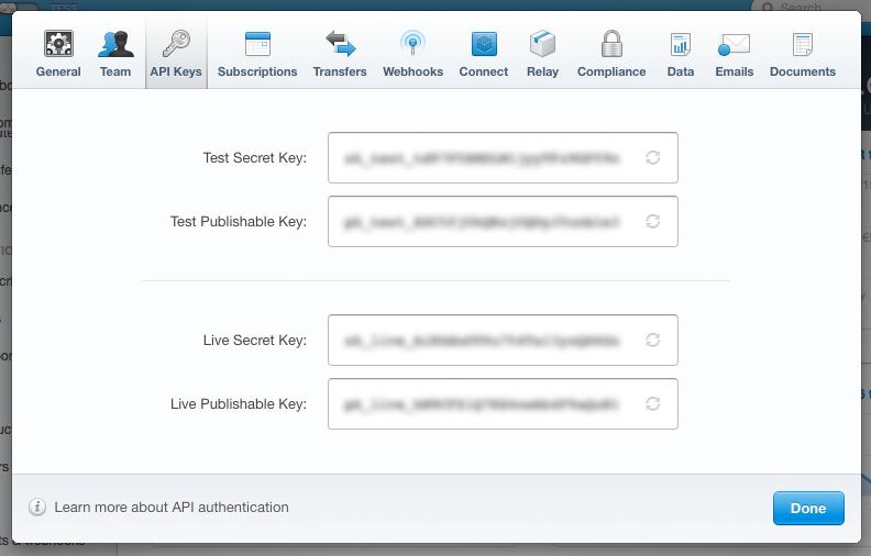 Stripe API key settings